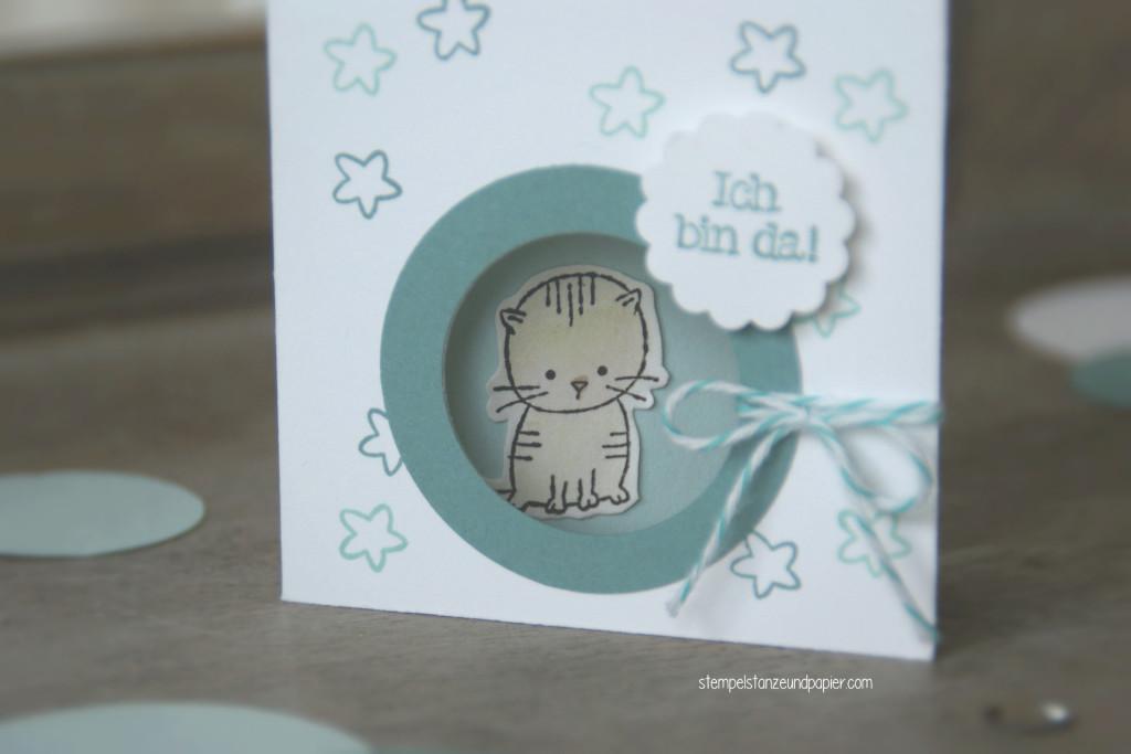 """Mini Baby-Kärtchen zur Geburt für kleine Jungs mit den Motiv Kätzchen aus dem Stempelset """"Zum Nachwuchs"""" von Stampin' Up!"""