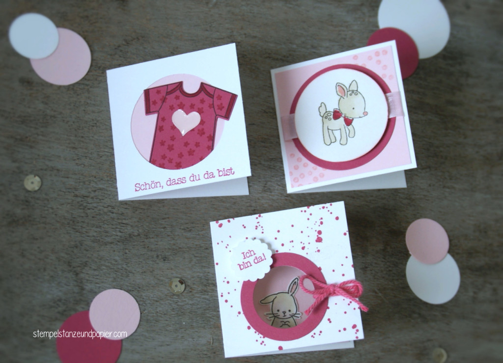 """Mini Baby-Kärtchen zur Geburt für kleine Mädchen mit den Motiven Babybody, Rehkitz und Häschen aus dem Stempelset """"Zum Nachwuchs"""" von Stampin' Up!"""