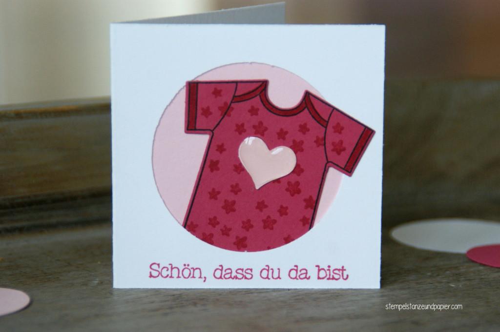 """Mini Baby-Kärtchen zur Geburt für kleine Mädchen mit den Motiv Body aus dem Stempelset """"Zum Nachwuchs"""" von Stampin' Up!"""