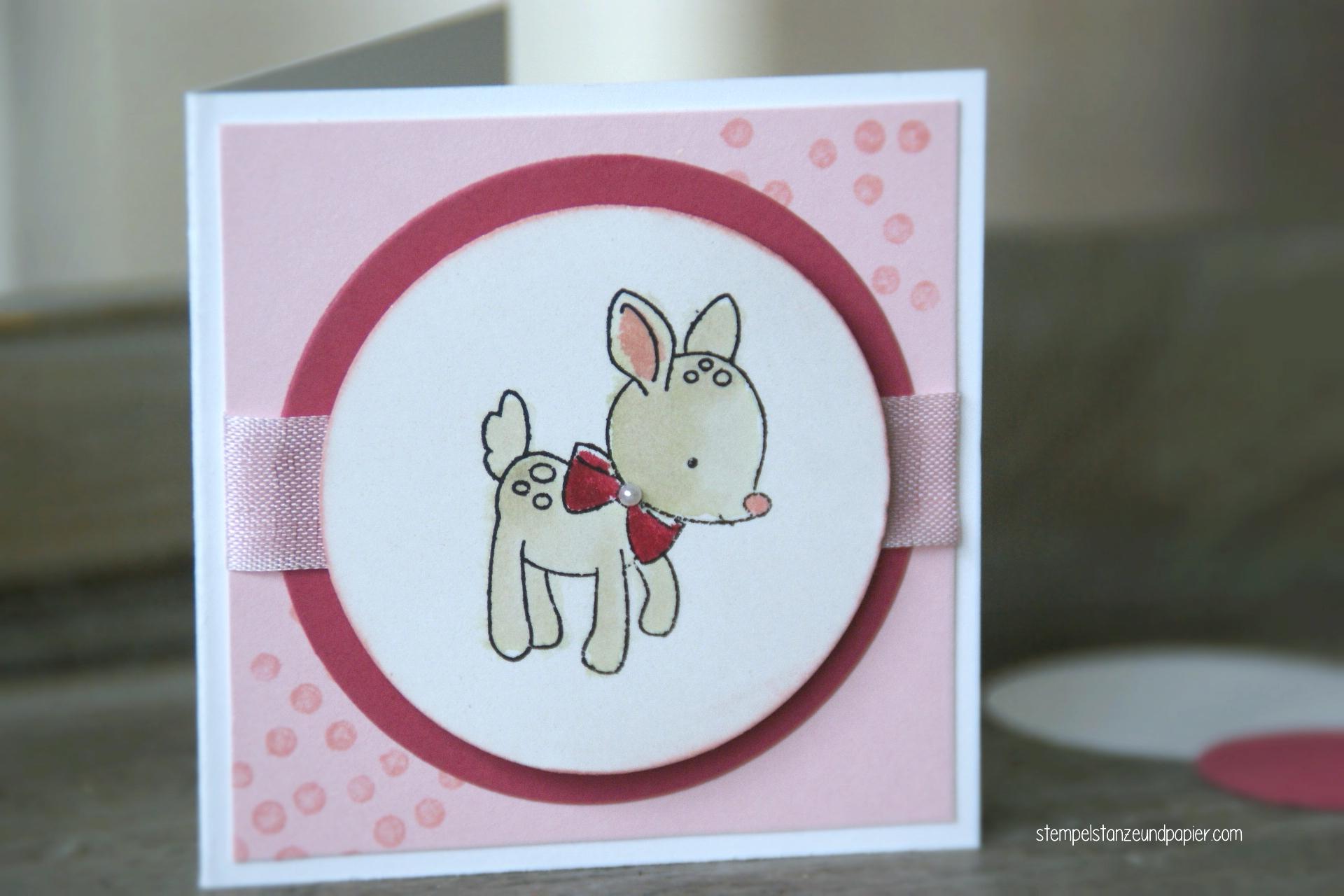 """Mini Baby-Kärtchen zur Geburt für kleine Mädchen mit den Motiv Rehkitz aus dem Stempelset """"Zum Nachwuchs"""" von Stampin' Up!"""
