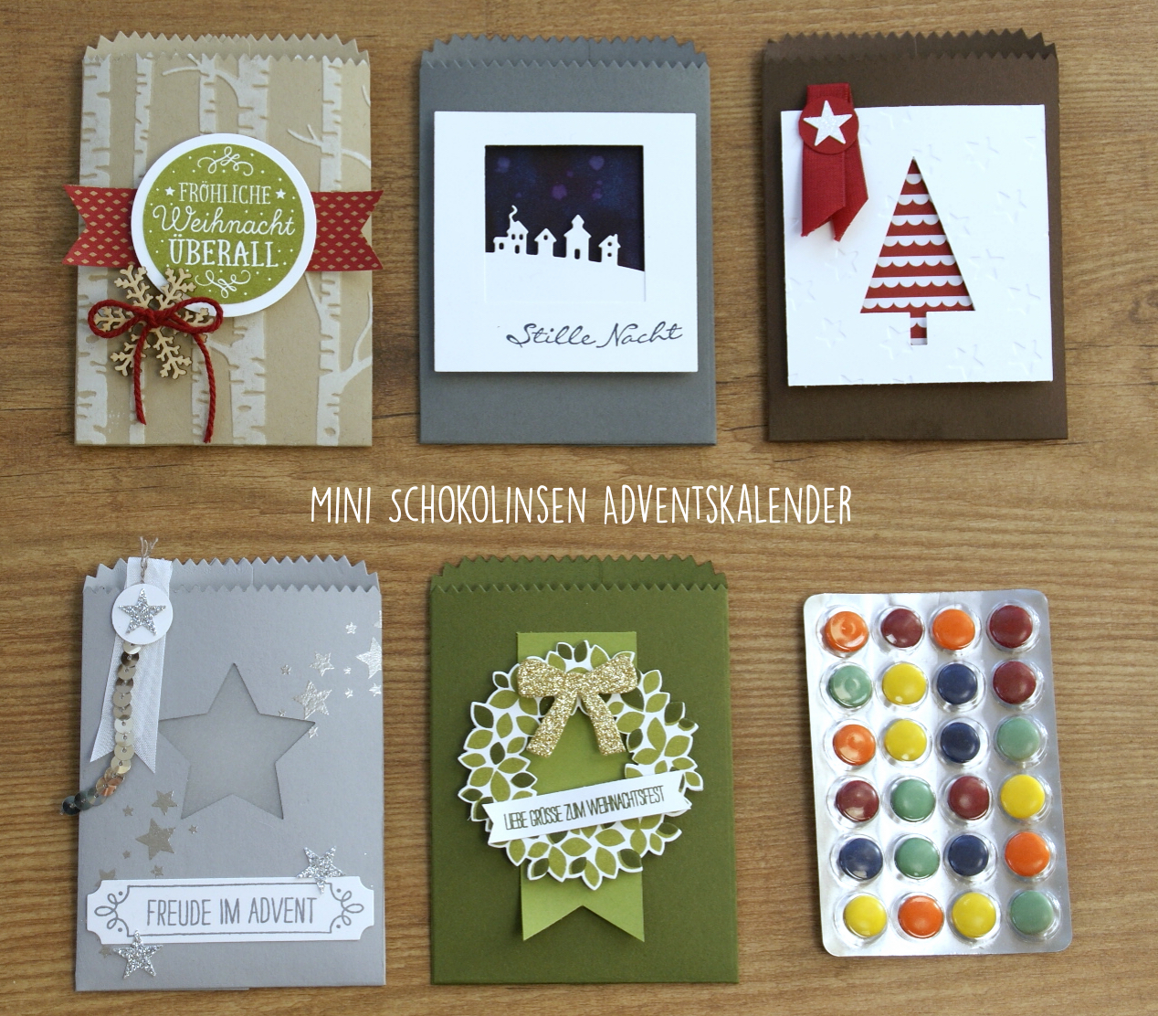 verpackungen f r mini schokolinsen adventskalender stempel stanze und papier. Black Bedroom Furniture Sets. Home Design Ideas