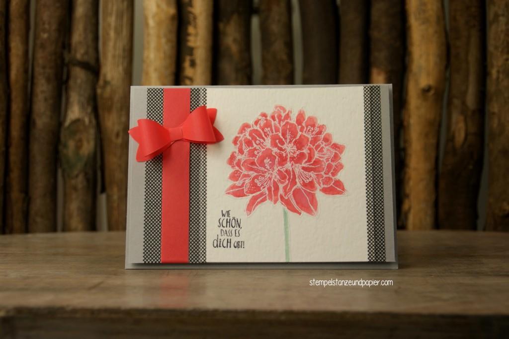 Gute Gedanken Blüte Karte embossing colorieren
