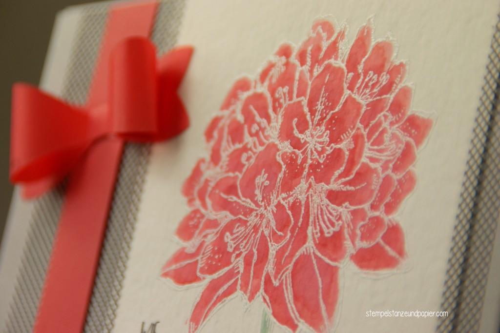 Gute Gedanken Blüte Karte embossing kolorieren Detail 1