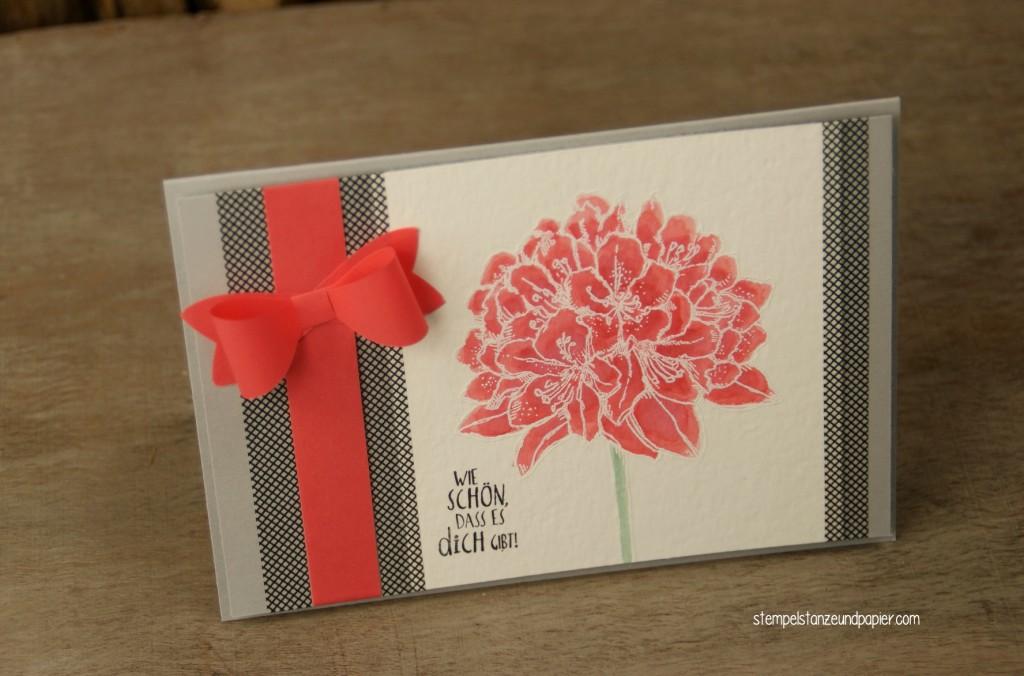 Gute Gedanken Blüte Karte embossing kolorieren Detail 3