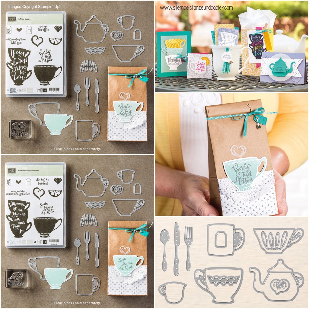 Stampin Up|a nice cuppa|vollkommene momente|framelits teestunde|framelits cups and kettle|besteck|teetasse|teekessel