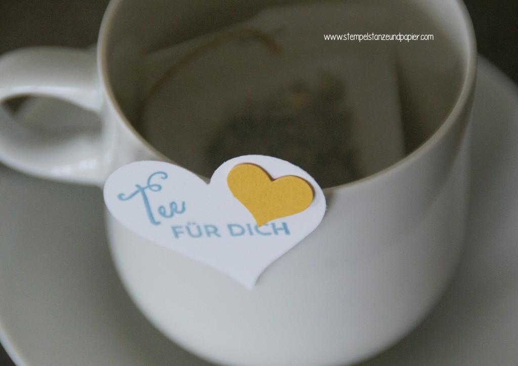 Tee Tasse|Have a cuppa|Vollkommene Momente|Framelits Teestunde|Stampin Up!|Anleitung Teebeutelverpackung|Teemischung selbermachen|Detail Teebeutel Anhänger