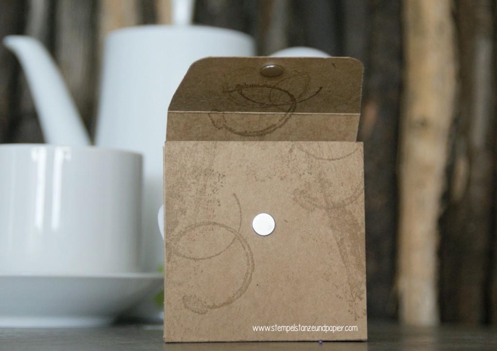 Tee Tasse|Have a cuppa|Vollkommene Momente|Framelits Teestunde|Stampin Up!|Anleitung Teebeutelverpackung|Teemischung selbermachen|Detail Magnetverschluss