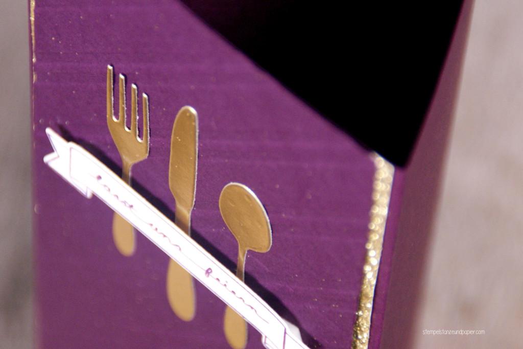 Menükarte Hochzeit goldenes Besteck ausgestanzt Detail 2
