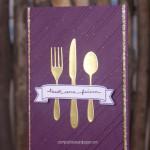 Menükarte mit ausgestanztem goldenen Besteck edel und schick Detail 1
