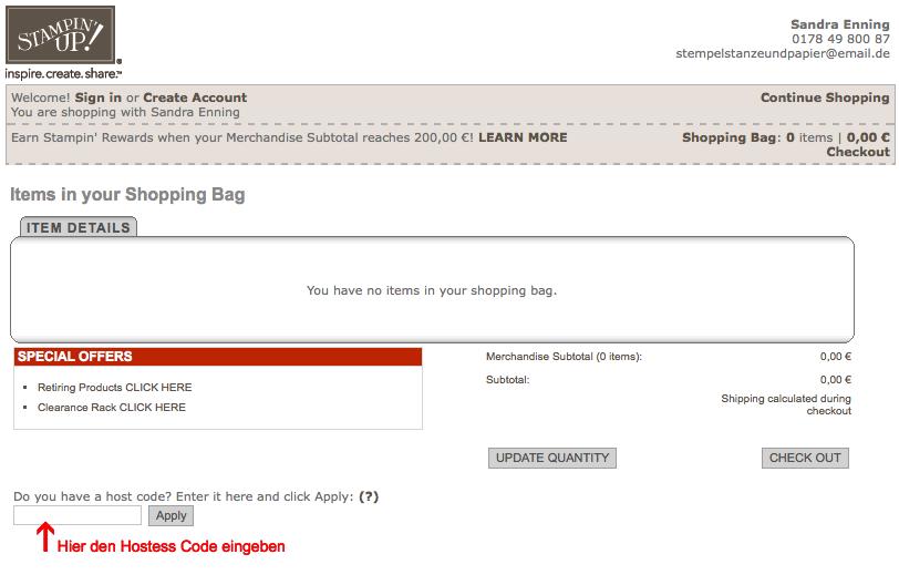 stampin' up! produkte bestellen stempelstanzeundpapier hostess code