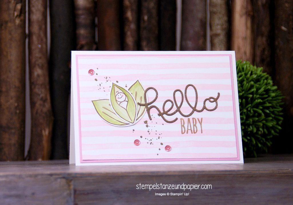 Eine Babykarte mit dem Stempelsets Friends and Flowers, Brushstroke, Herzlich willkommen und den Thinlits Grüße von Stampin' Up!