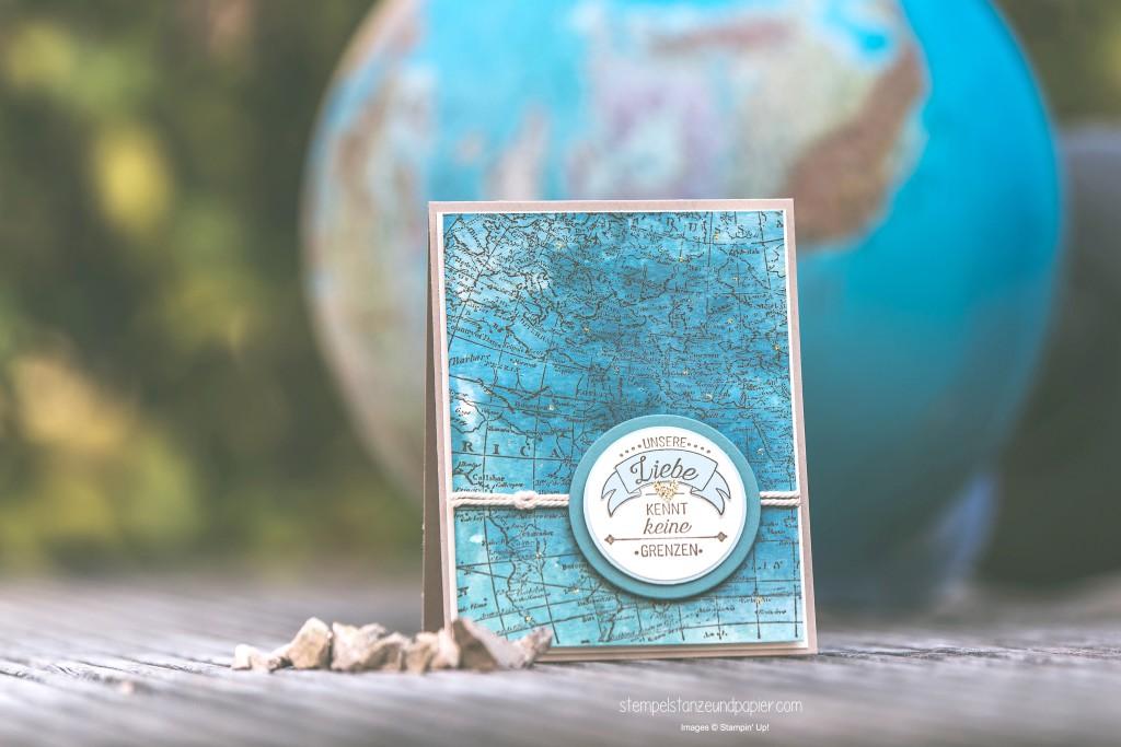 Liebe ohne Grenzen Karte Aquarell Weltkarte Seemannsknoten Stampin Up International Blog HIghlight