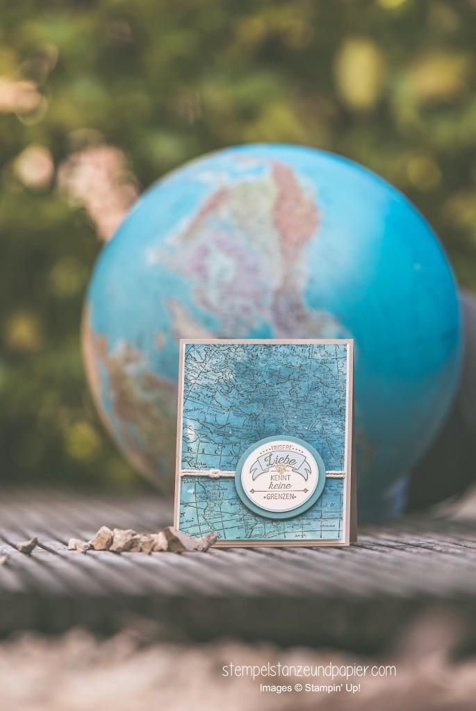 Liebe ohne Grenzen Karte Weltkarte Aquarell International Blog Highlight Stampin Up 3
