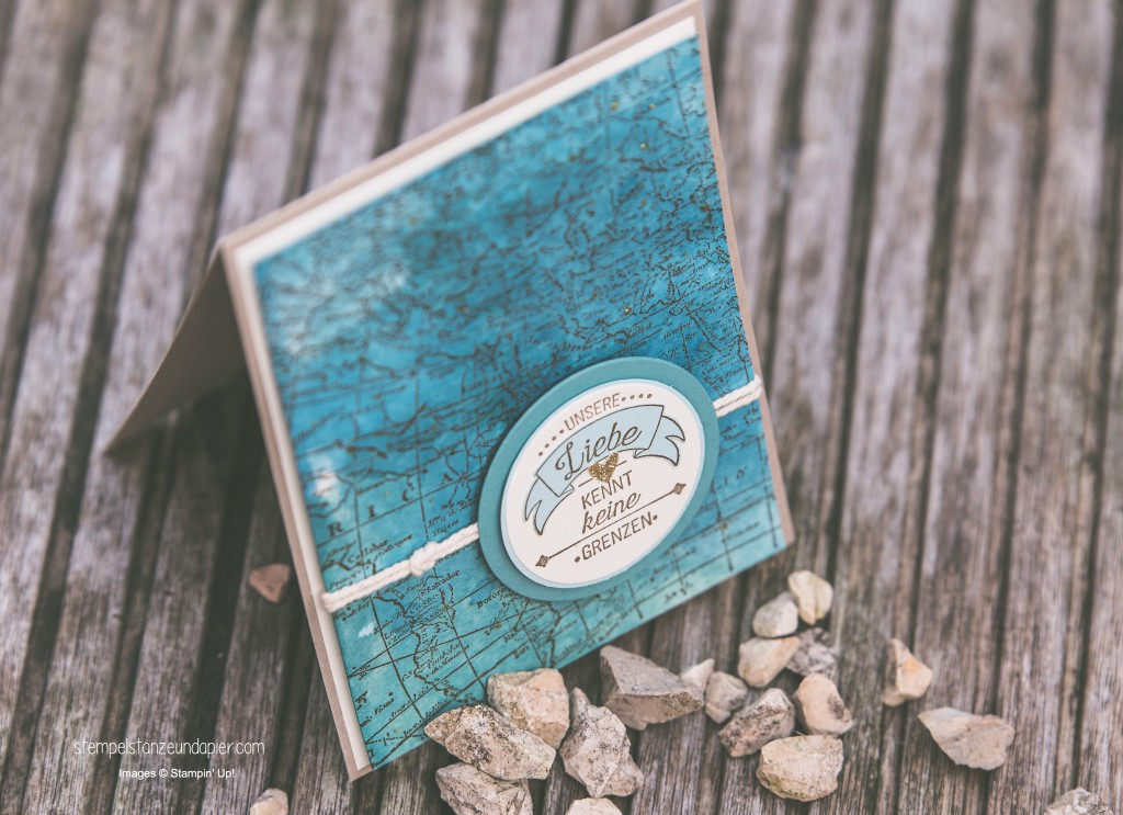 Liebe ohne Grenzen Karte Weltkarte Aquarell Seemannsknoten Stampin Up International Blog Highlight 4