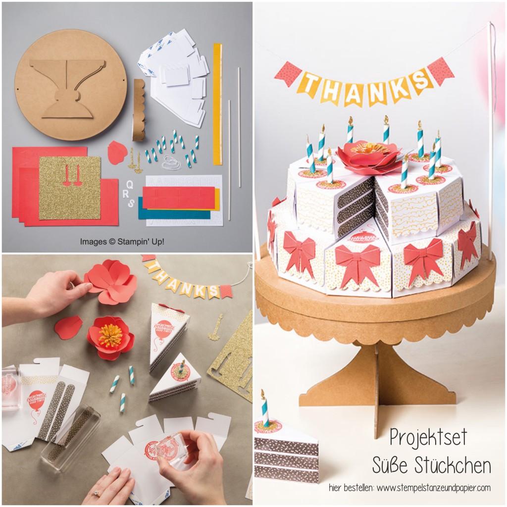 Torte aus Papier Projektset Süße Stückchen Stampin Up Collage 1