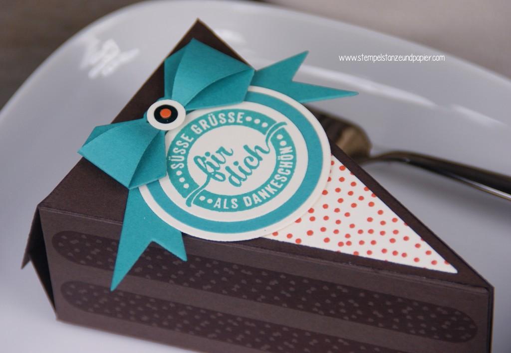 Torte aus Papier Thinlits Tortenstück|cutie pie|Stemeplset Süße Stückchen|gdp029|espresso|bermudablau|orangentraum|Tortenstück|Torte aus Papier|für dich|detail