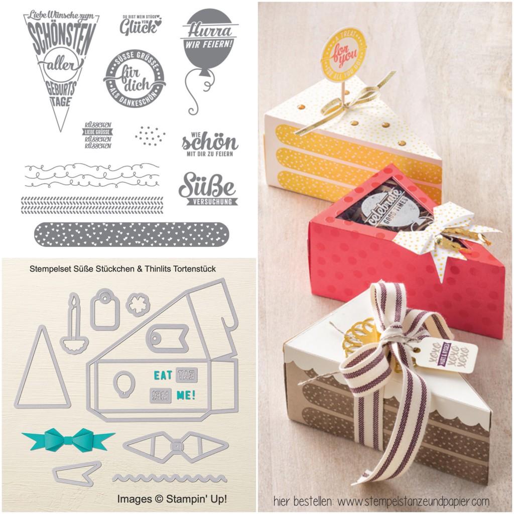 Torte aus Papier süße stückchen thinlits tortenstück stampin up collage
