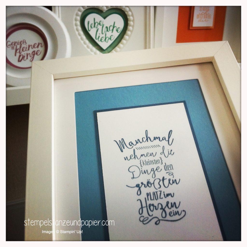 IBilderrahmen Dekoration mit dem Stempelset Im Herzen aus dem neuen Jahreskatalog 2016 von Stampin' Up! gestaltet mit den In Color Farben 2016-2018 Smaragdgrün. Jeansblau, zarte Pflaume und Pfirsich pur