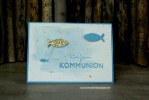 Kommunionkarten Einladungen basteln Bastelkurs in Ahaus Kommunionkarten Einladungen basteln Bastelkurs in Ahaus Kommunionkarte-Aquarell-gold-glimmer-Fisch-ausgestanzt-Goldfaden-Wink-of-Stella