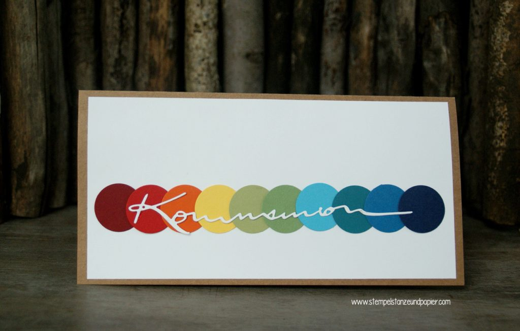 Kommunionkarte-Einladung-Regenbogen-gestanzter-Schriftzug-DIN-lang