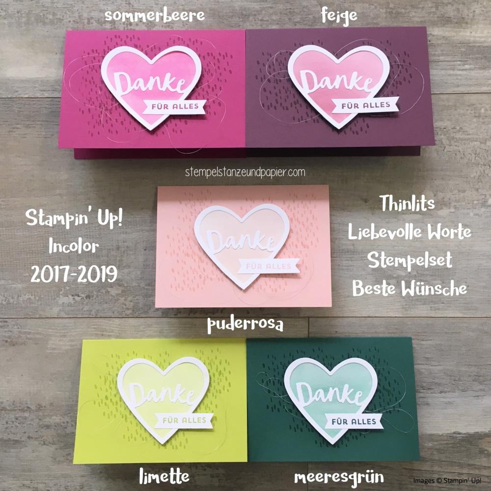 Incolor 2017-2019 Stampin' Up! sommerbeere meeresgrün limette puderrosa feige Liebevolle Worte Thinlits Stempelset Beste Wünsche stempelstanzeundpapier