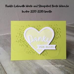 Karte Liebevolle Worte Beste Wünsche Incolor 2017 2019 limette Stampin' Up! stempelstanzeundpapier