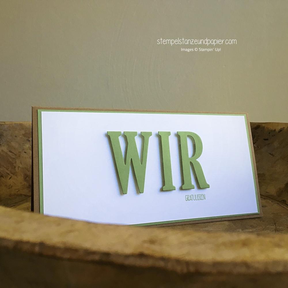 glueckwunschkarte hochzeit wir gratulieren grosse buchstaben stampin up stempelstanzeundpapier