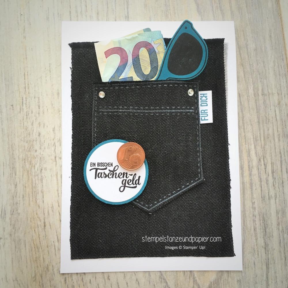 Stoff ausstanzen mit der Big Shot tasche voller sonnenschein ein bisschen taschengeld geldgeschenkverpackung jeans ausstanzen big shot stampin up stempelstanzeundpapier