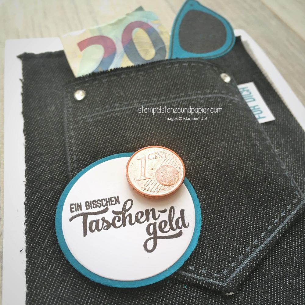 tasche voller sonnenschein geldgeschnk taschengeld geschenkverpackung jeans ausstanzen mit der bigshot stampin up stempelstanzeundpapier