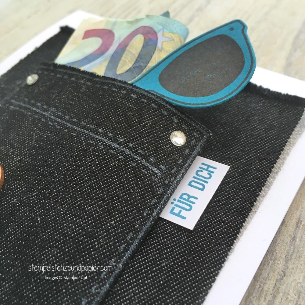 tasche voller sonnenschein stampin up taschengeld geld geschenk verpacken stoff ausstanzen mit der big shot stempelstanzeundpapier