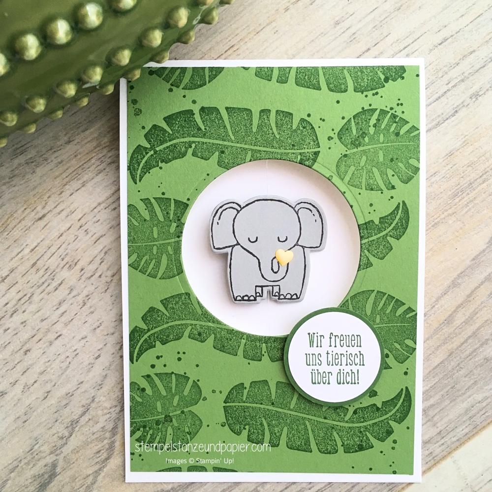 tierische glueckwuensche kleiner elefant dschungel spinner card karte zur geburt stampin up stempelstanzeundpapier