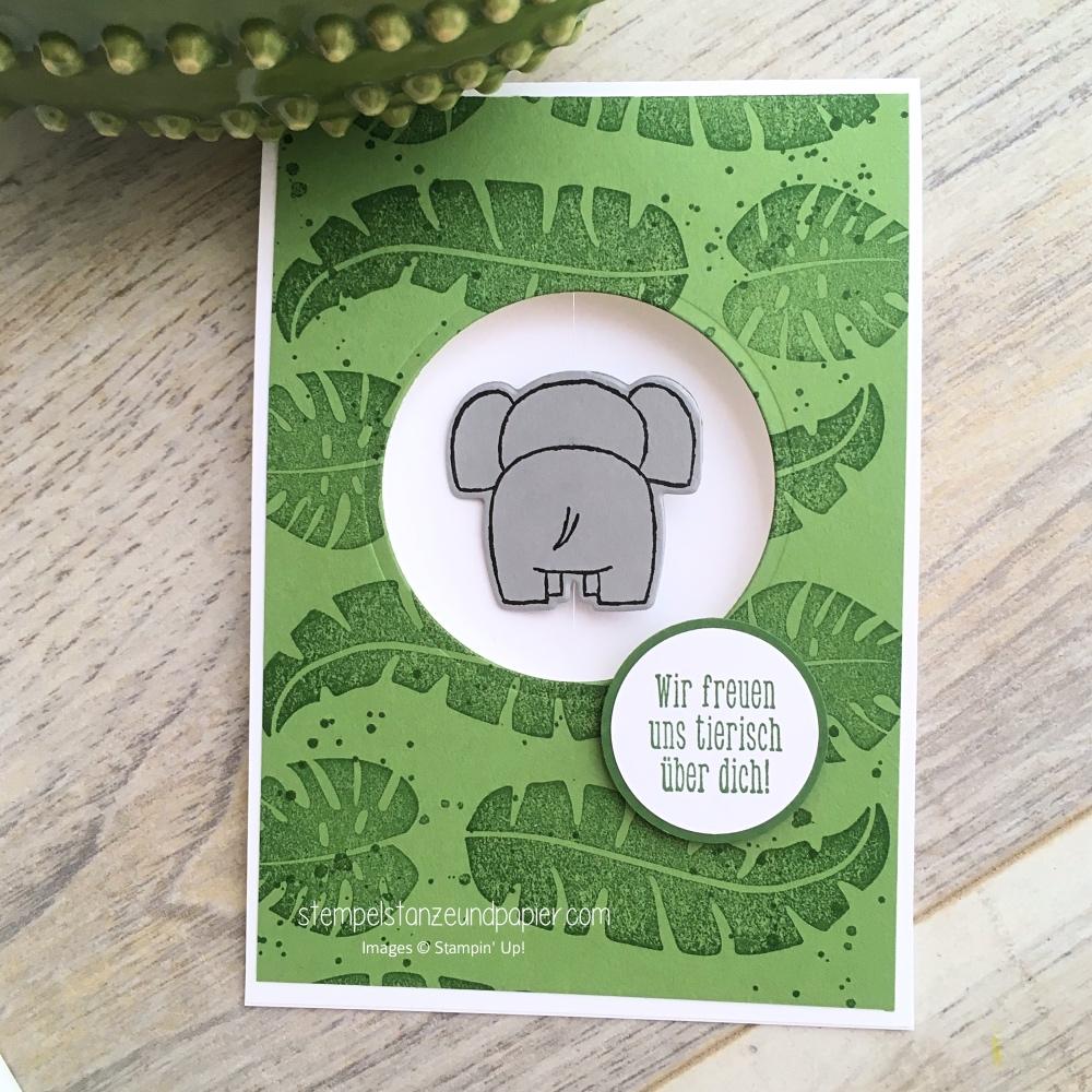 tierische glueckwuensche kleiner elefant von hinten spinner card wir freuen uns tierisch ueber dich stampin up stempelstanzeundpapier
