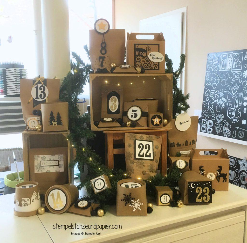 Adventkalender 2017 Kraftkarton gold schwarz weiß dekoriert kugeln tannenzweig stampin up stempelstanzeundpapier
