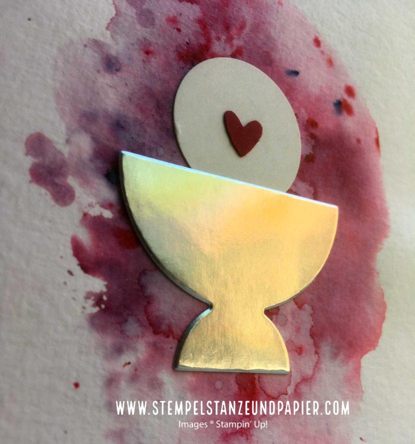 Kommunion Einladung selber basteln Stampin up brusho oblate stempelstanzeundpapier