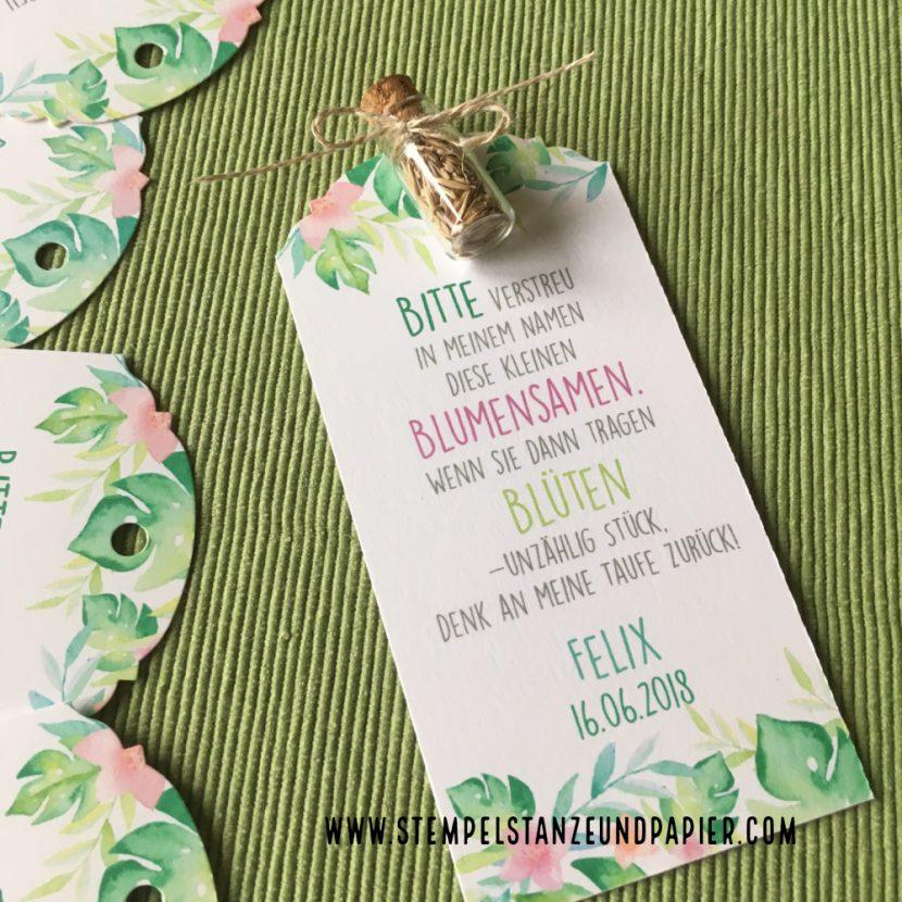 Blumensamen Gastgeschenk Taufe stempelstanzeundpapier