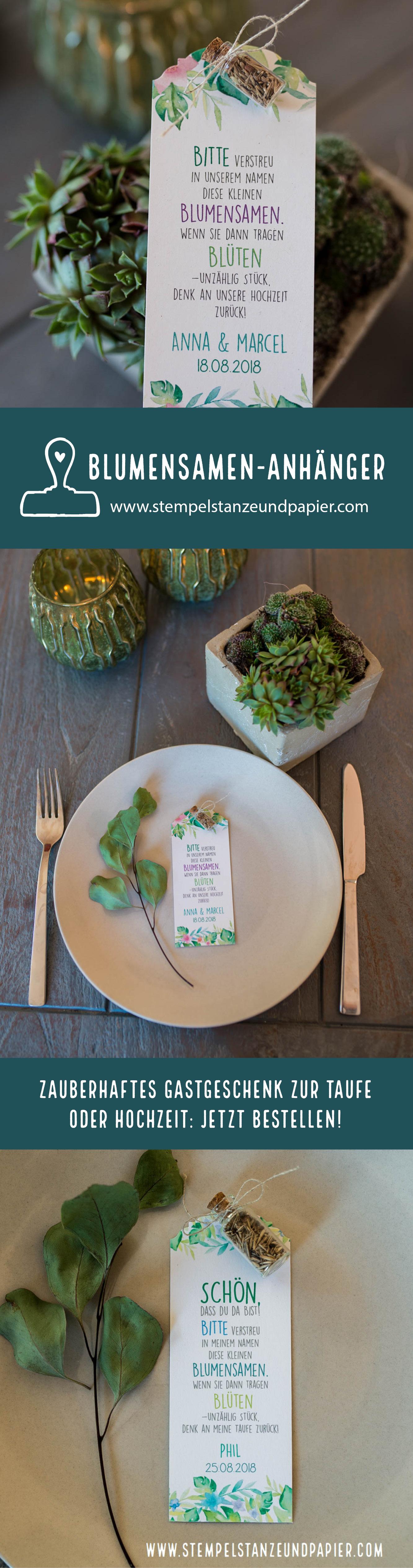 Gastgeschenk Blumensamenanhänger zur taufe hochzeitstempelstanzeundpapier