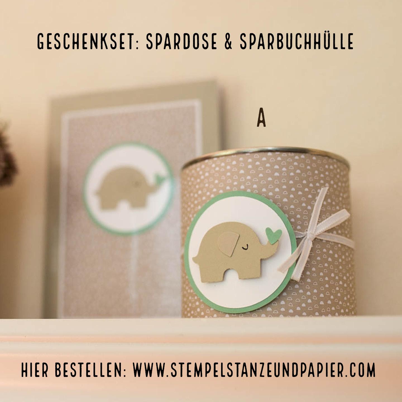 Geschenkset Kinder Spardose und Sparbuchhülle Elefant stempelstanzeundpapier