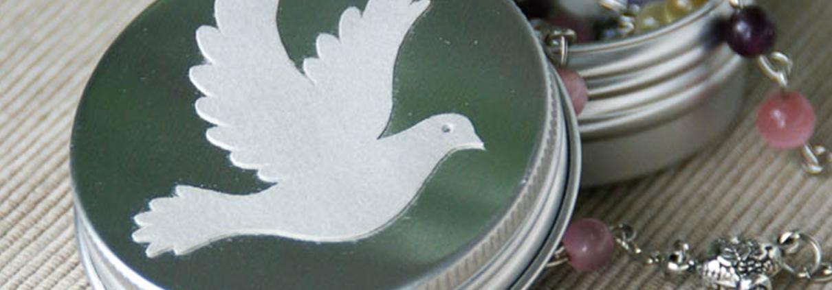 runde Rosenkranz Aluminium Dose christliche Motive